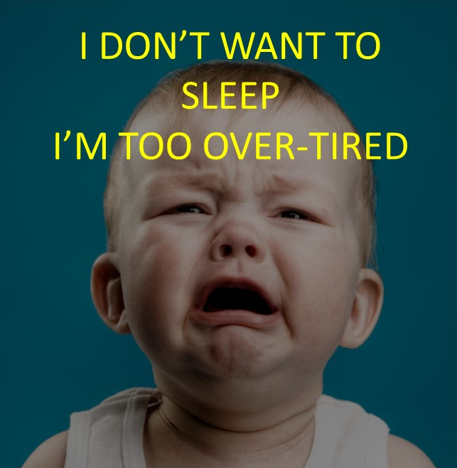 overtired exhausted baby won't sleep and has a tantrum